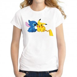 Tee-Shirt Pikachu Stitch Femme ETE 2019