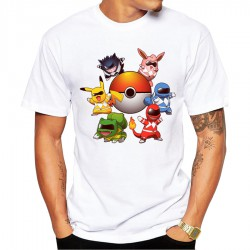 T-Shirt Pokemon Homme Power Rangers Poke-Style
