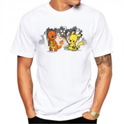 Tee Shirt Salameche et Pikachu Camping Hommes