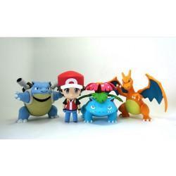 Figurines Pokemon Pack du dresseur complet: Sacha+Tortank+Dracaufeu+Florizarre