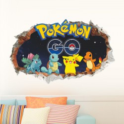 Stickers Mural 3D Pokemon GO 60x90cm