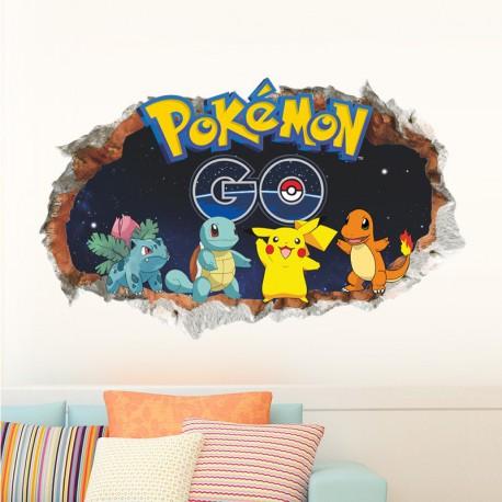 Stickers Mural 3D Pokemon GO 60x90cm