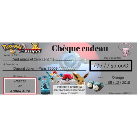 Chèque Cadeau Boutique Pokemon Livraison Express